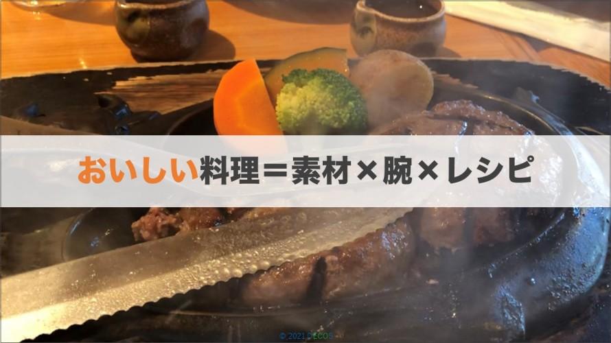 2おいしい料理=素材×腕×レシピ